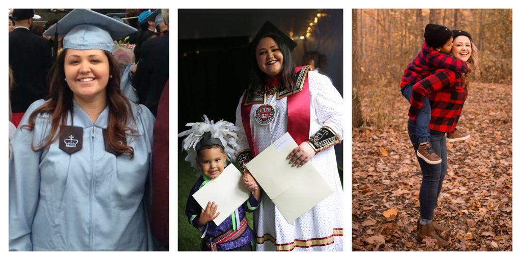 A collage of images of Heather Watts graduating from her first two degrees, and a final image of her and Nico playing in the leaves outside.