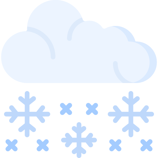 Illustration of a cloud with snowflakes falling out of it.