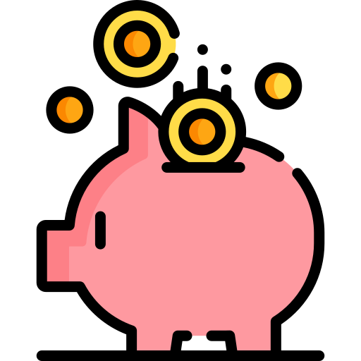 Icon of a piggy bank, with coins going into it. Icon made by https://www.freepik.com from https://www.flaticon.com