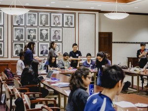 Wide shot of students building prototypes