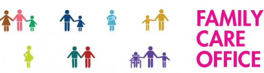 Family Care Office text graphic with cartoon depictions of diverse families