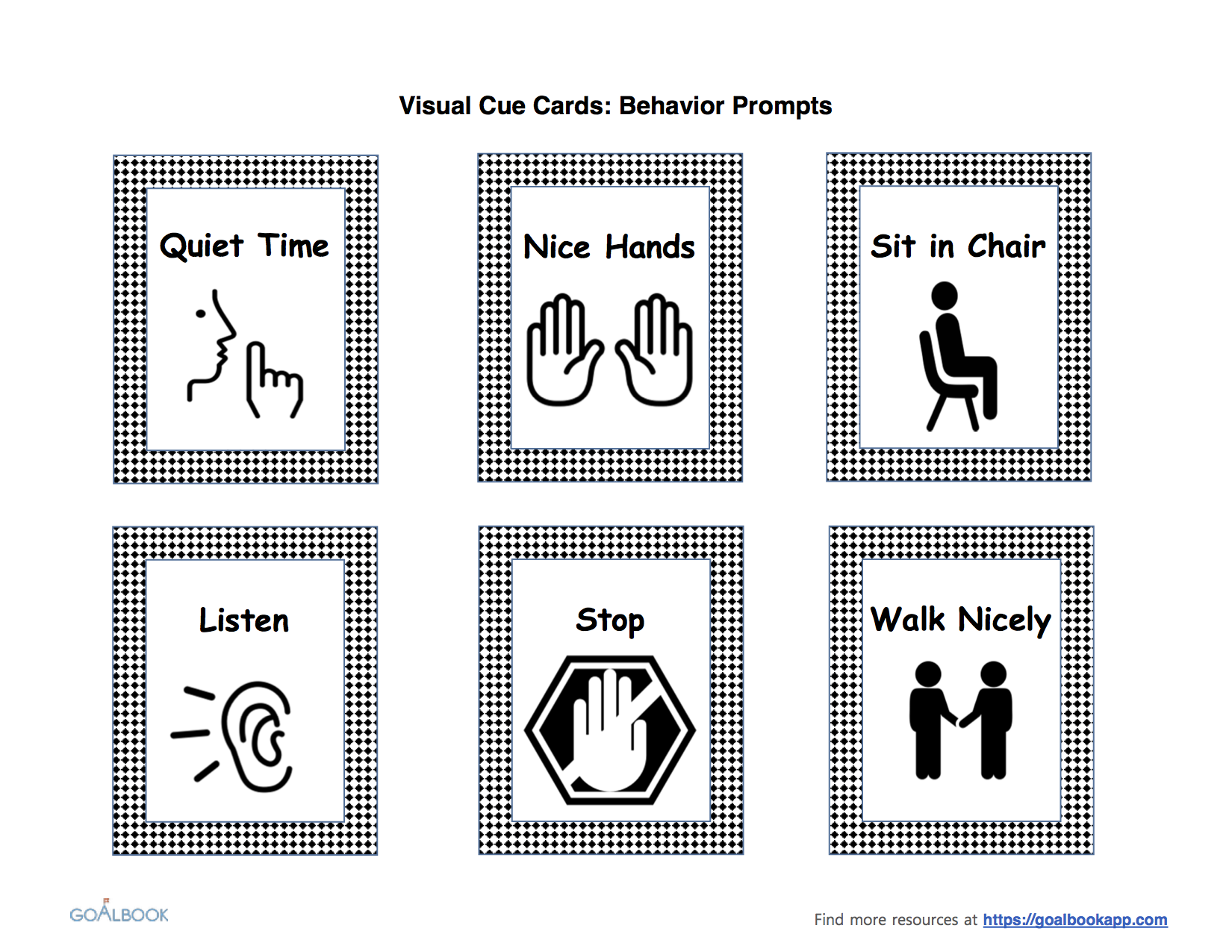 Visual cue cards for behaviour guidance of children.