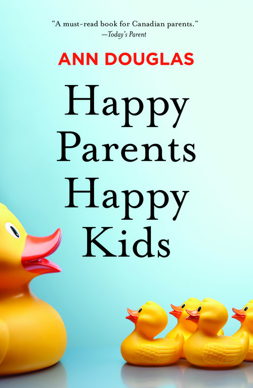 Book cover of happy parents, happy kids, a blue blackground with 3 yellow rubber ducks on the front.