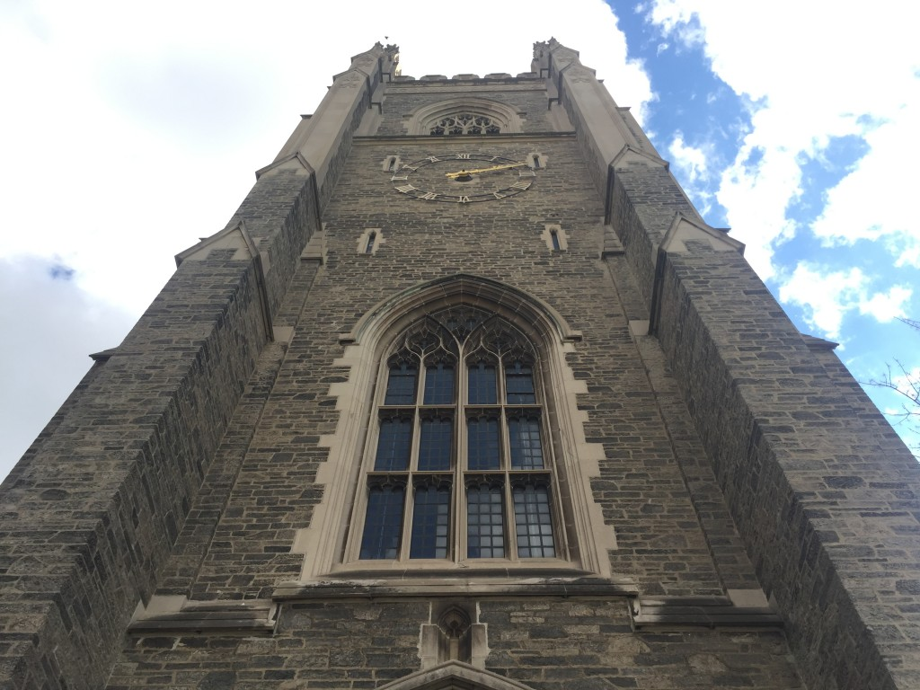 a photo of Soldier's Tower from the perspective of looking up towards the sky