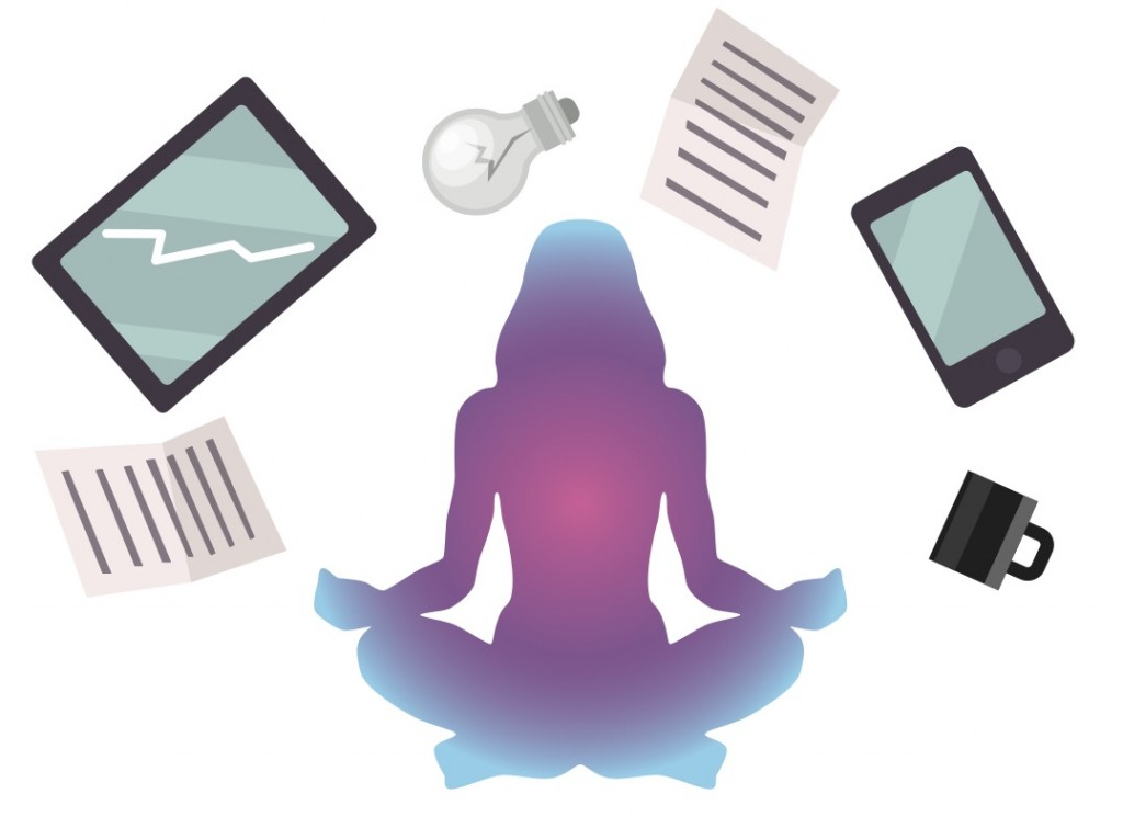 illustration of person in meditative sitting pose