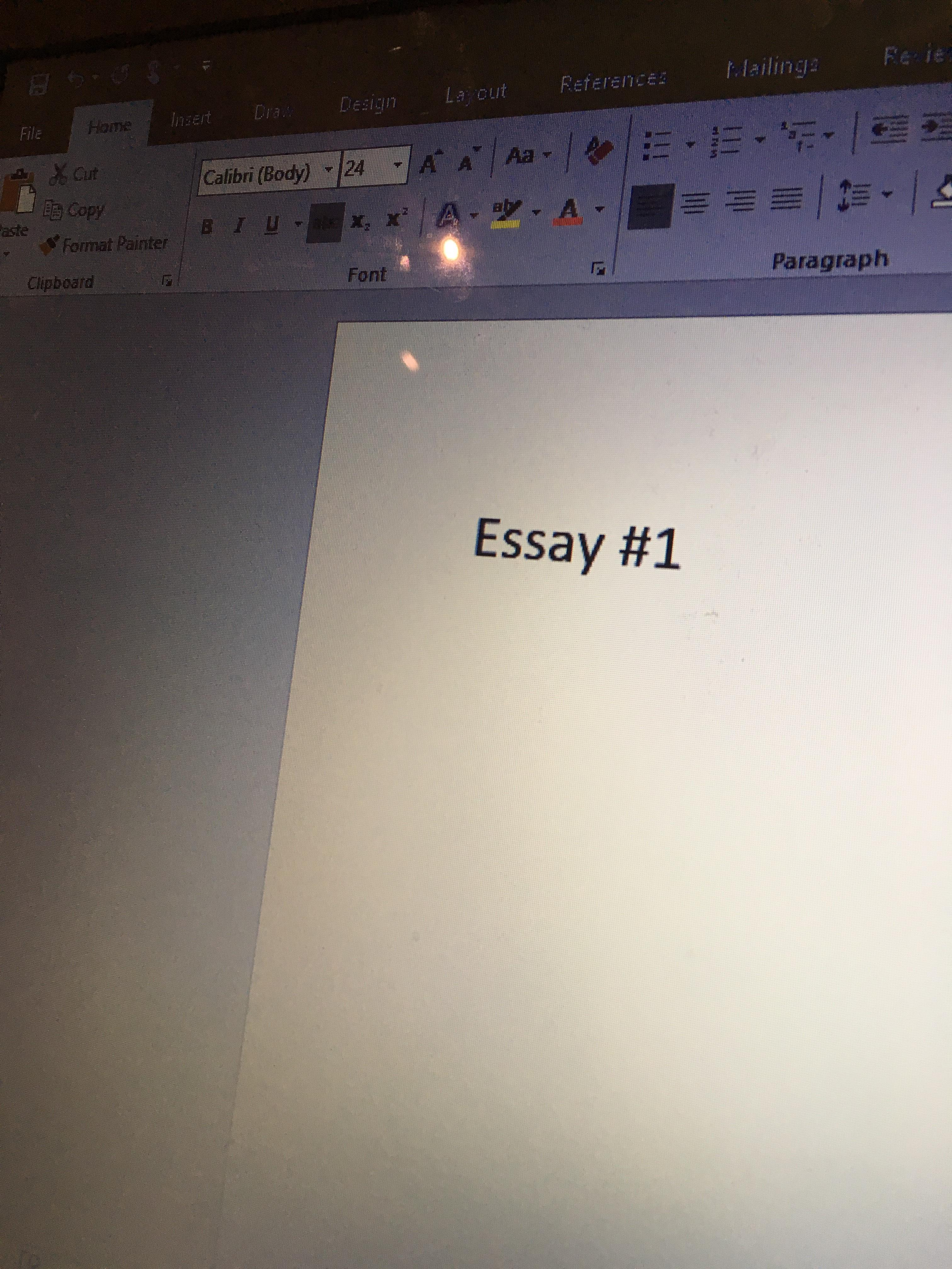 """A photo of a screen that says """"Essay #1"""""""