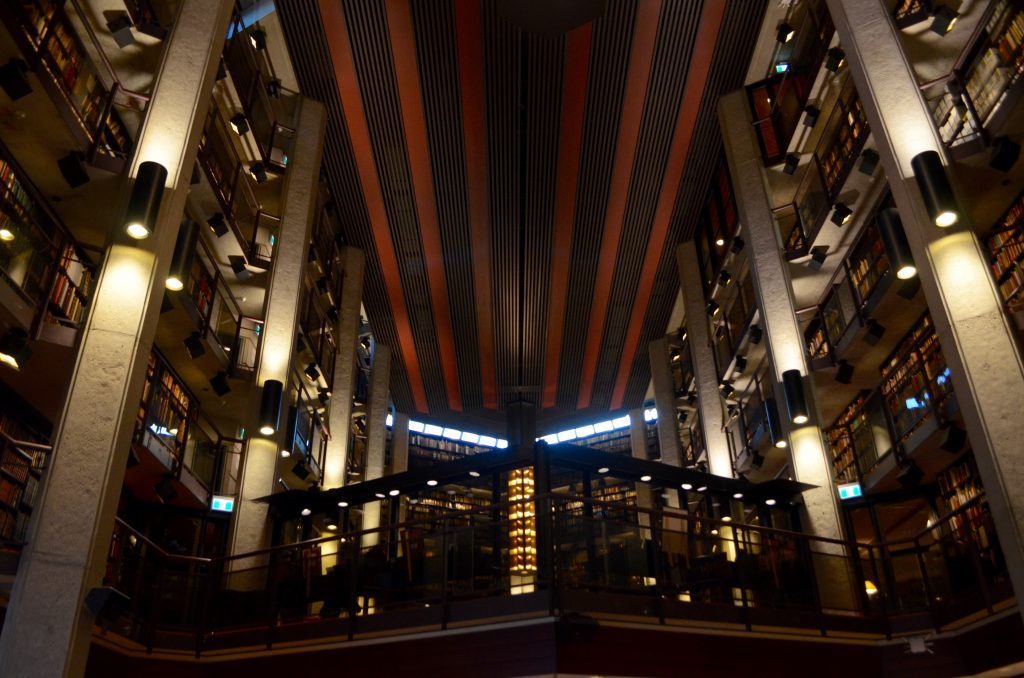 Picture of all the levels of bookshelves in the Thomas Fisher Rare Book Library