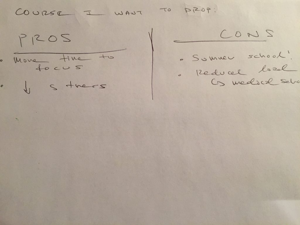 Photograph of handwritten pros and cons list about dropping a course