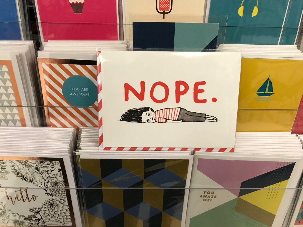 "gift card from the bookstore saying ""nope"""