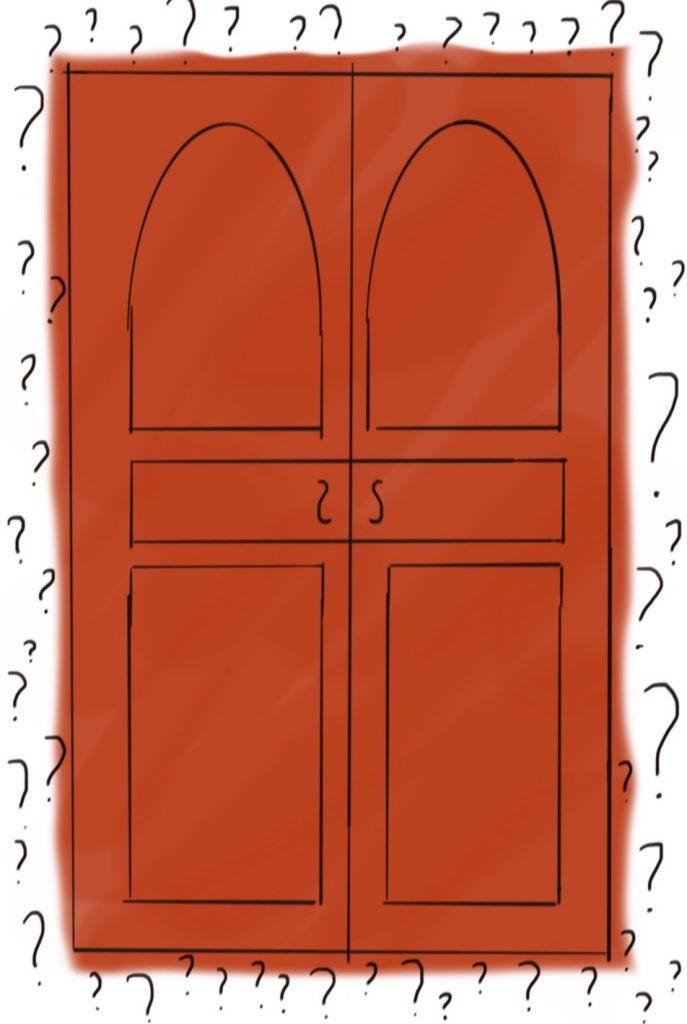 a red door surrounded by question marks