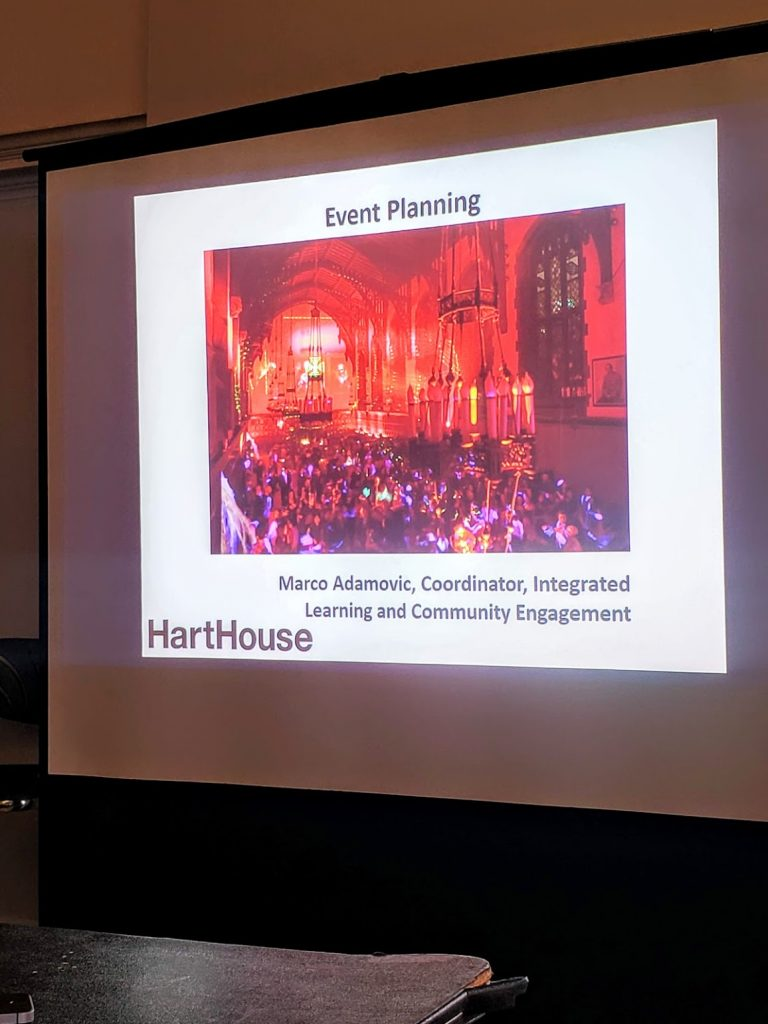 The introductory slide for the presentation at the Hart House event-planing workshop