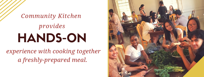 Community Kitchens description with photo of people eating together