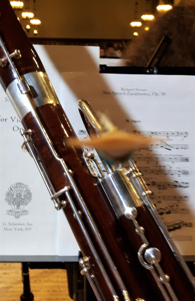 Author's bassoon in front of a music stand with music, in an orchestra rehearsal.