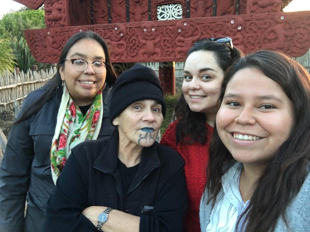 photographed together are Naomi Recollet, Ngahuia Te Awekotuku, Andrea Johns, and Diane Hill in Hamilton, New Zealand