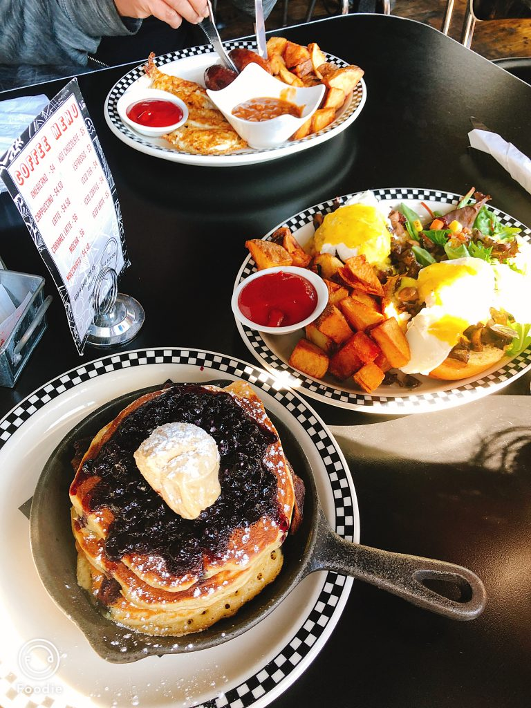 Brunch- Eggs benedict and Pancakes