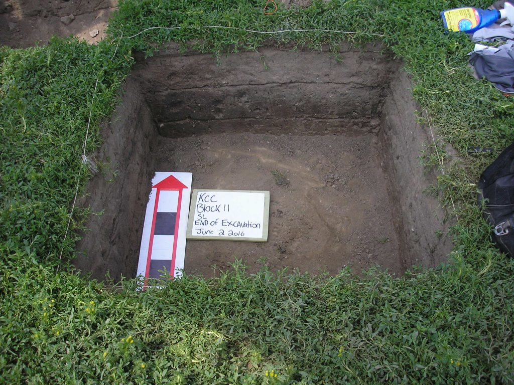 Picture of my archaeological dig site, which I did for ARH306. Caption: Dabbling in archaeology in first-year