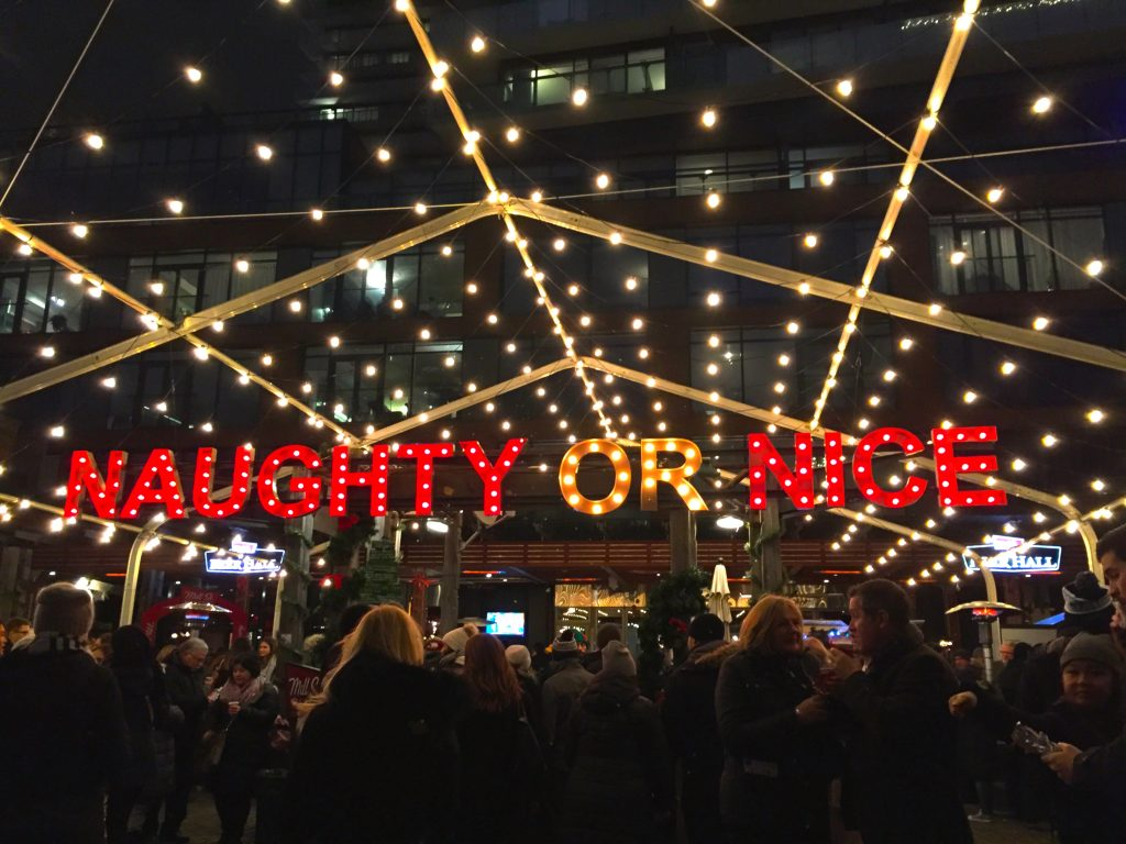 Image of the Naughty or Nice Sign at the Toronto Christmas Market