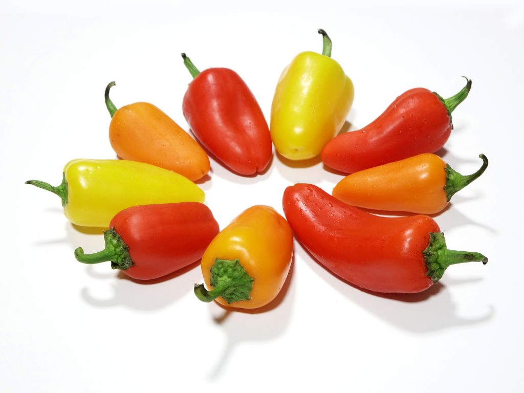 A stock photo of some little peppers. Caption: Tasty, tasty variety