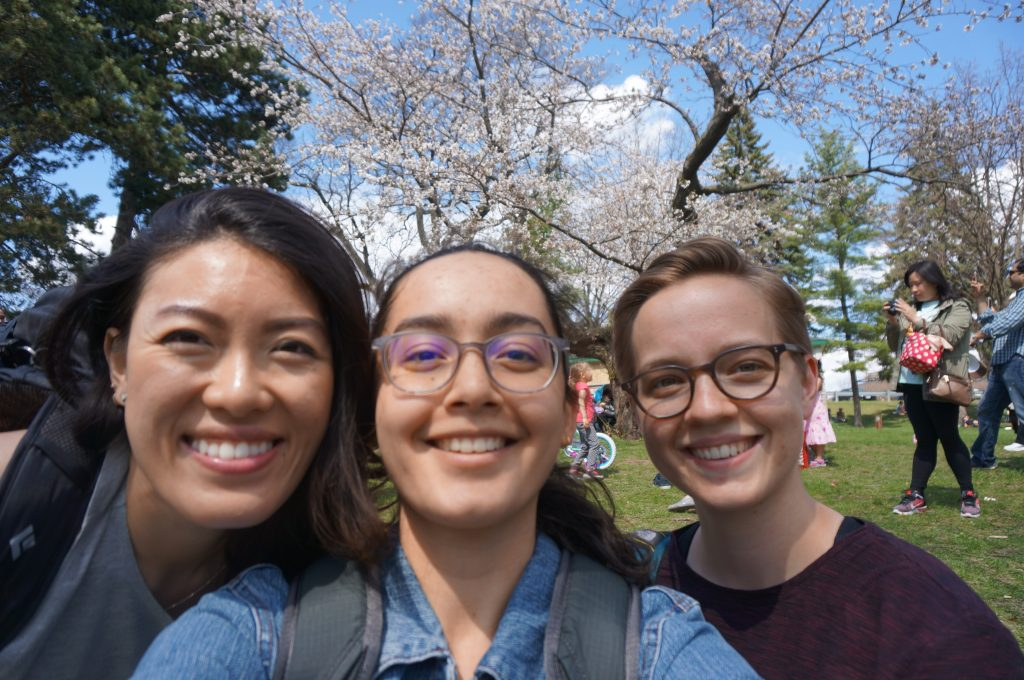three women with cherry blossoms at high park