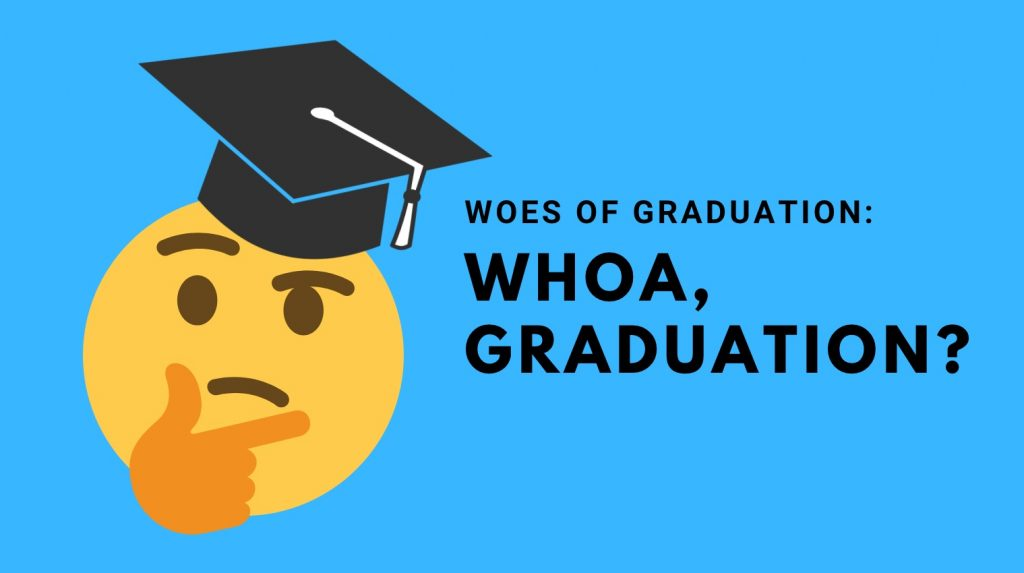 Woes of Graduation: Whoa, Graduation? blog banner with thinking emoji wearing a grad cap