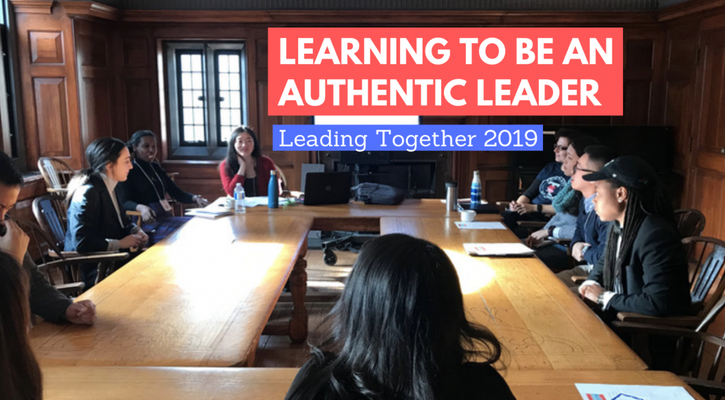 Learning to be an authentic leader:Leading together 2019 blog banner, people sitting around square wooden table