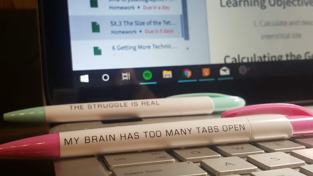 "pens that say ""the struggle is real"" and ""My brain has too many tabs open"""