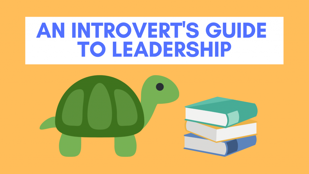 An Introvert's guide to leadership blog title with turtle and a pile of books beside it
