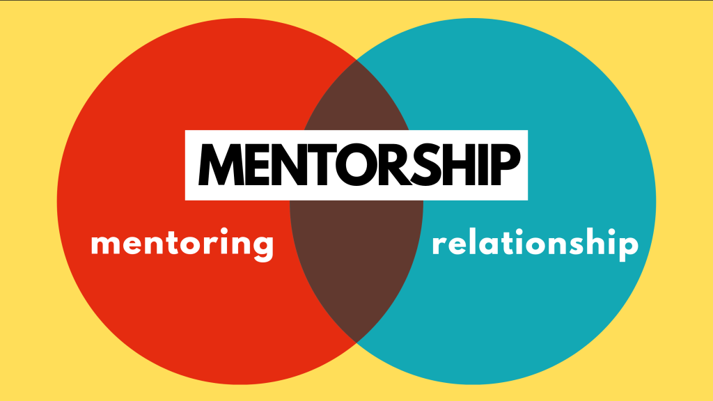 venn diagram of mentorship: mentoring in left circle, relationship in right circle, mentorship at intersection of circles
