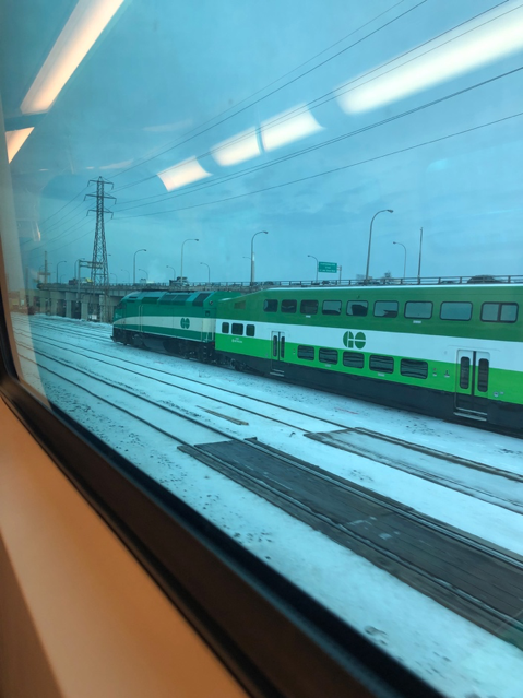 GO train passing by at Union Station
