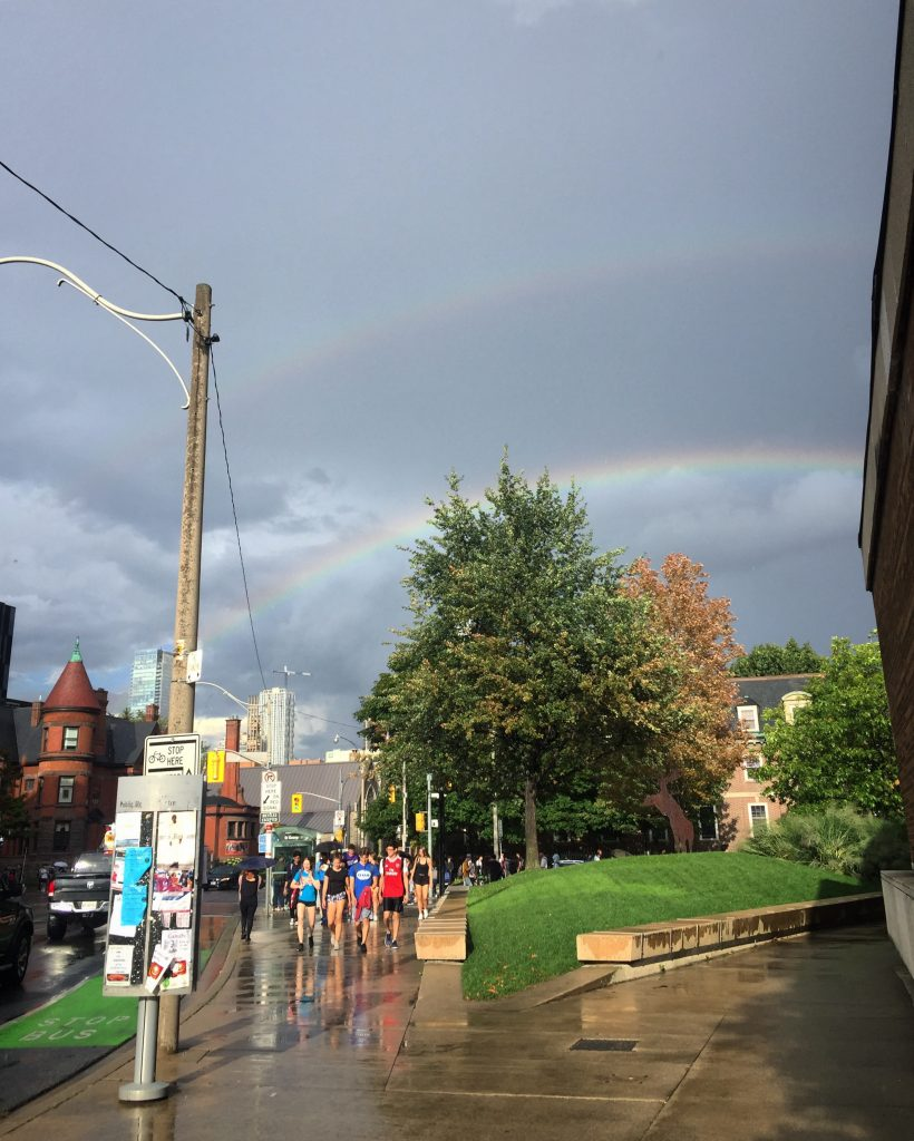 A picture of a rainbow above the U of T campus
