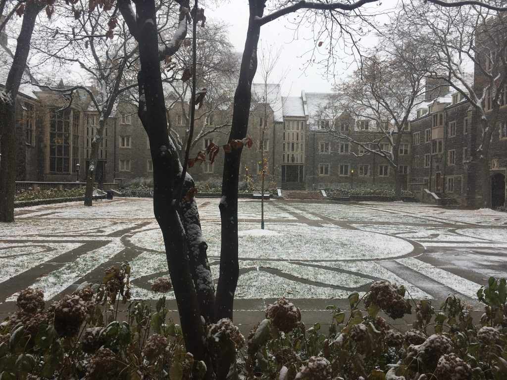 Trinity quad on the first day of snow..