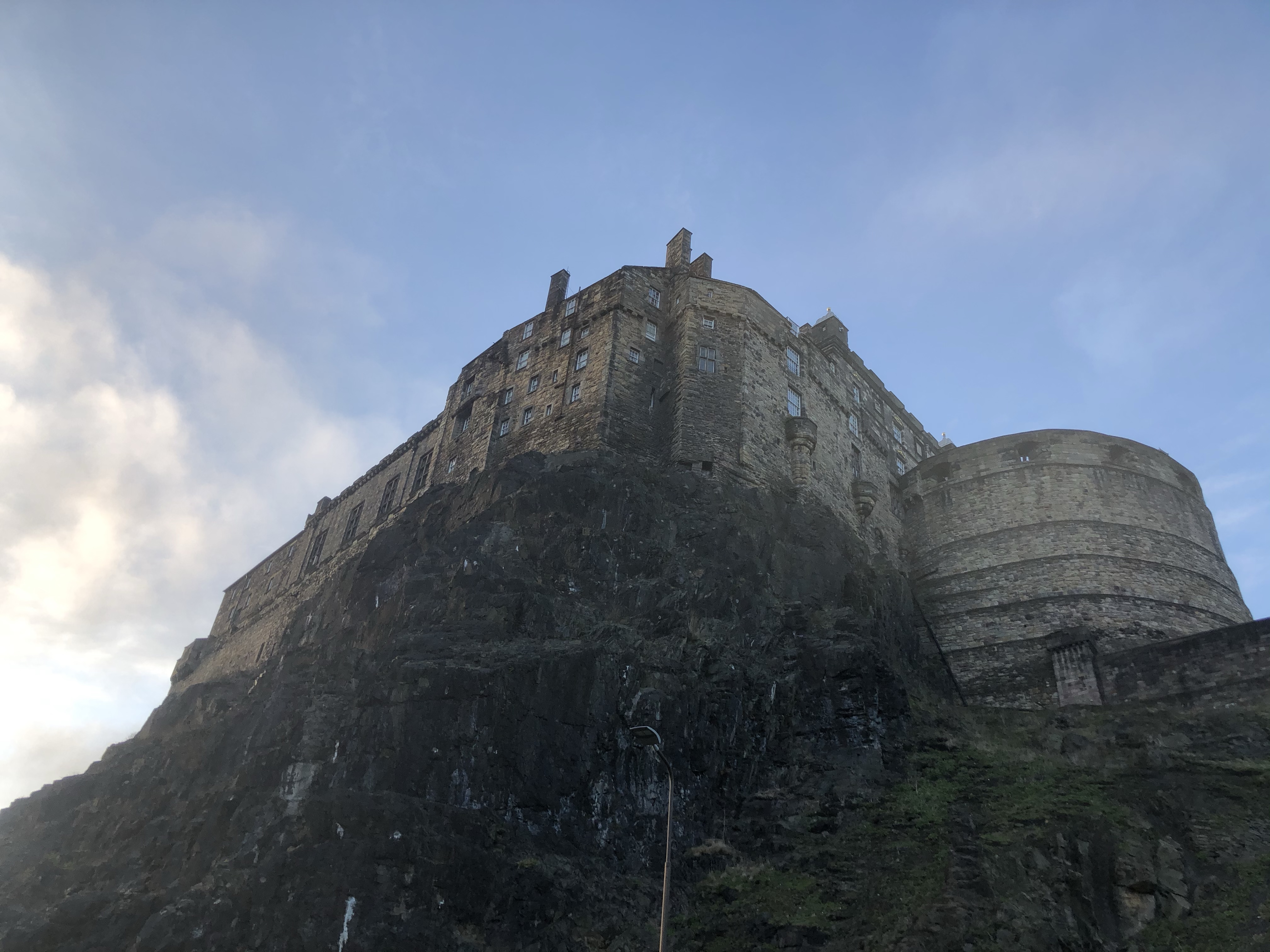 The Edinburgh castle from a low angle