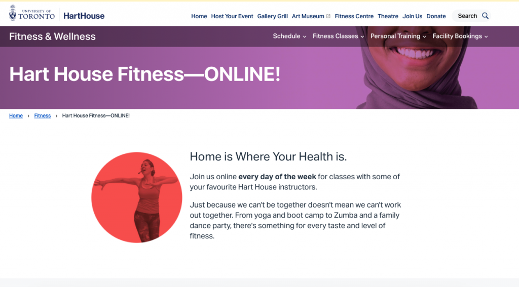 A screenshot from the Hart House online fitness class website.
