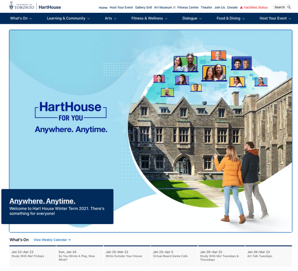Hart House Home page screenshot