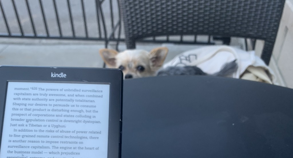a dog looking over a table with an e-reader on it