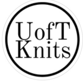 "black-and-white circular logo that reads ""U of T Knits"""