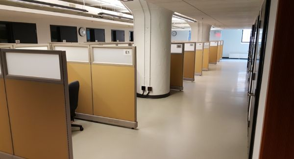 A picture showing the semiprivate cabins at the Accommodated Testing Centre